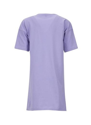 DeFacto Kız Çocuk Baskılı Kısa Kol Tişört Elbise Mor